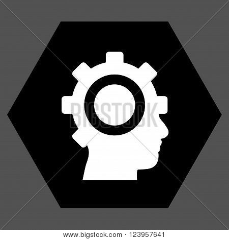 Cyborg Gear vector icon. Image style is bicolor flat cyborg gear pictogram symbol drawn on a hexagon with black and white colors.