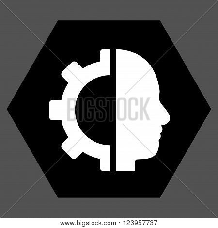 Cyborg Gear vector pictogram. Image style is bicolor flat cyborg gear pictogram symbol drawn on a hexagon with black and white colors.