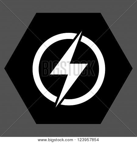 Electricity vector symbol. Image style is bicolor flat electricity icon symbol drawn on a hexagon with black and white colors.