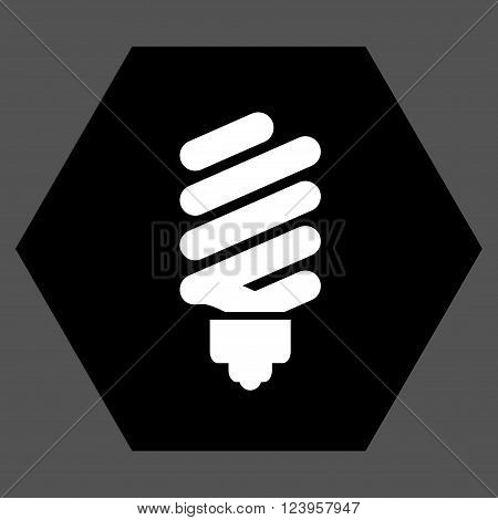 Fluorescent Bulb vector symbol. Image style is bicolor flat fluorescent bulb iconic symbol drawn on a hexagon with black and white colors.