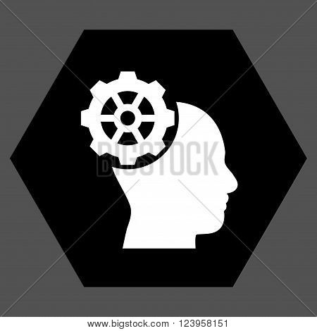 Head Gear vector pictogram. Image style is bicolor flat head gear iconic symbol drawn on a hexagon with black and white colors.