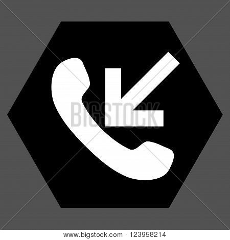 Incoming Call vector pictogram. Image style is bicolor flat incoming call pictogram symbol drawn on a hexagon with black and white colors.
