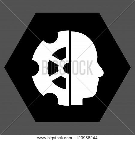 Intellect vector symbol. Image style is bicolor flat intellect icon symbol drawn on a hexagon with black and white colors.