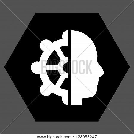 Intellect vector icon. Image style is bicolor flat intellect pictogram symbol drawn on a hexagon with black and white colors.