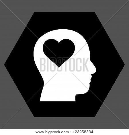 Lover Head vector icon. Image style is bicolor flat lover head iconic symbol drawn on a hexagon with black and white colors.