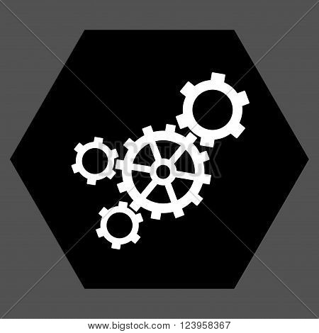 Mechanism vector pictogram. Image style is bicolor flat mechanism pictogram symbol drawn on a hexagon with black and white colors.