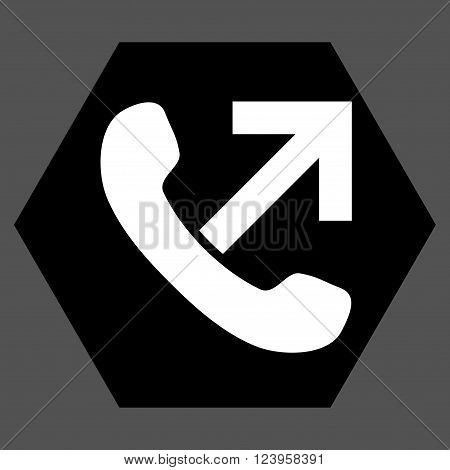 Outgoing Call vector symbol. Image style is bicolor flat outgoing call pictogram symbol drawn on a hexagon with black and white colors.