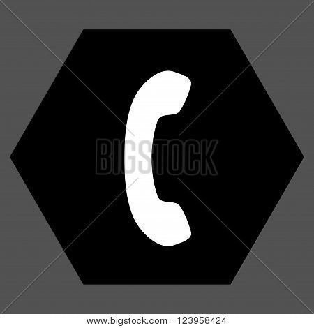 Phone Receiver vector icon symbol. Image style is bicolor flat phone receiver pictogram symbol drawn on a hexagon with black and white colors.