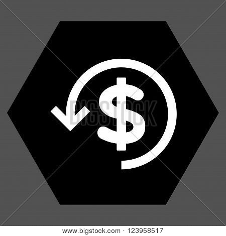 Refund vector pictogram. Image style is bicolor flat refund pictogram symbol drawn on a hexagon with black and white colors.
