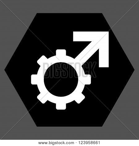 Technological Potence vector symbol. Image style is bicolor flat technological potence iconic symbol drawn on a hexagon with black and white colors.