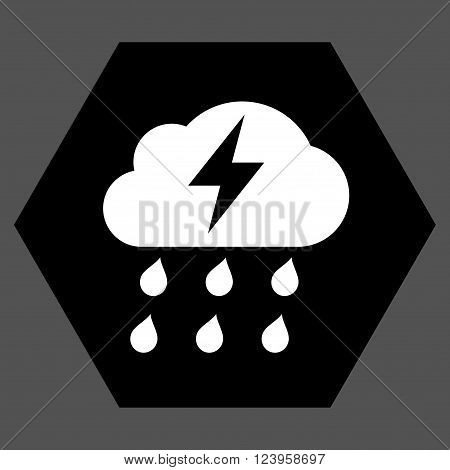 Thunderstorm vector icon symbol. Image style is bicolor flat thunderstorm pictogram symbol drawn on a hexagon with black and white colors.