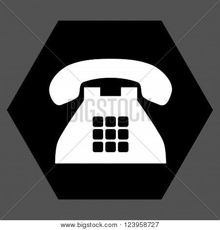 Tone Phone vector pictogram. Image style is bicolor flat tone phone pictogram symbol drawn on a hexagon with black and white colors.