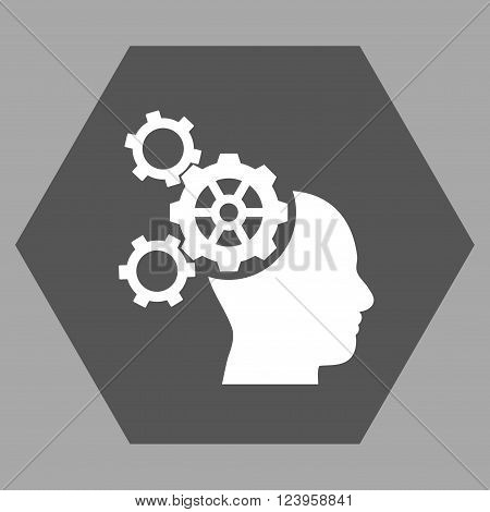 Brain Mechanics vector icon symbol. Image style is bicolor flat brain mechanics pictogram symbol drawn on a hexagon with dark gray and white colors.