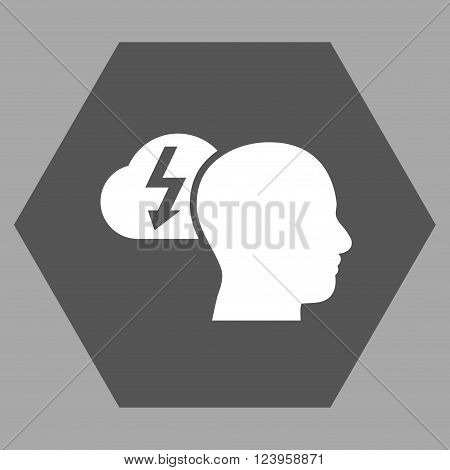 Brainstorming vector icon. Image style is bicolor flat brainstorming iconic symbol drawn on a hexagon with dark gray and white colors.