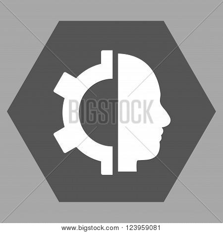 Cyborg Gear vector symbol. Image style is bicolor flat cyborg gear iconic symbol drawn on a hexagon with dark gray and white colors.