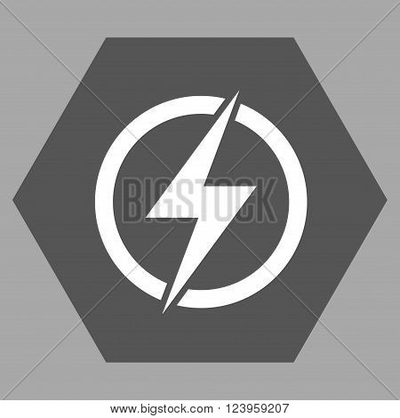 Electricity vector pictogram. Image style is bicolor flat electricity icon symbol drawn on a hexagon with dark gray and white colors.