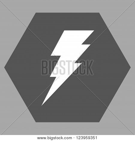 Execute vector icon. Image style is bicolor flat execute icon symbol drawn on a hexagon with dark gray and white colors.