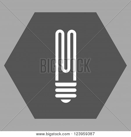 Fluorescent Bulb vector symbol. Image style is bicolor flat fluorescent bulb icon symbol drawn on a hexagon with dark gray and white colors.
