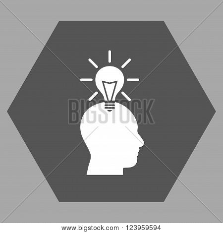 Genius Bulb vector icon symbol. Image style is bicolor flat genius bulb iconic symbol drawn on a hexagon with dark gray and white colors.