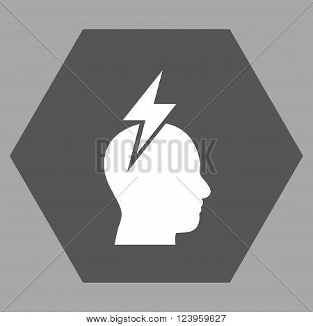 Headache vector symbol. Image style is bicolor flat headache pictogram symbol drawn on a hexagon with dark gray and white colors.