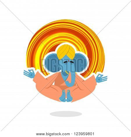 Lord Ganesha. Elephant yogi meditates. Blue Elephant is engaged in yoga. Animal meditating. Ganesha attained enlightenment. Yogi isolated. Animals yoga