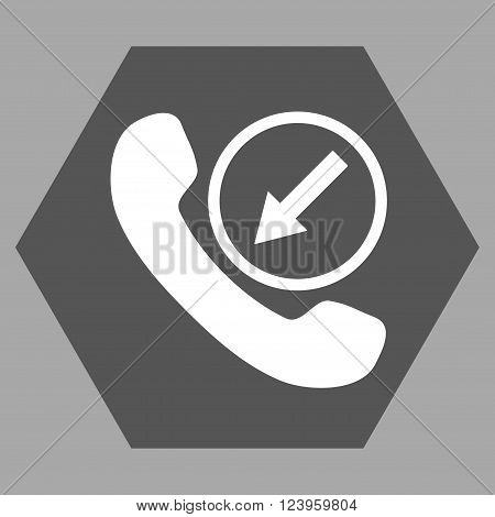 Incoming Call vector pictogram. Image style is bicolor flat incoming call pictogram symbol drawn on a hexagon with dark gray and white colors.