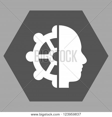 Intellect vector pictogram. Image style is bicolor flat intellect iconic symbol drawn on a hexagon with dark gray and white colors.