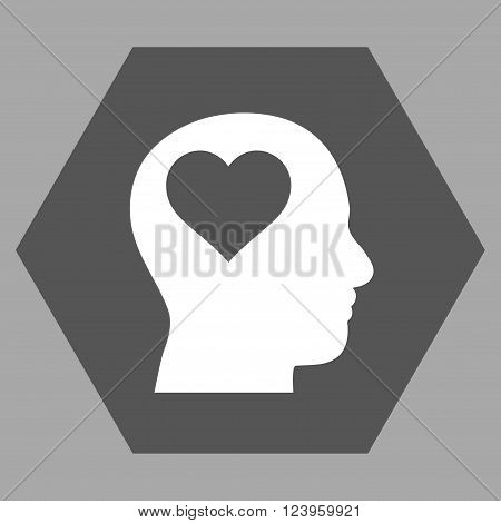 Lover Head vector symbol. Image style is bicolor flat lover head pictogram symbol drawn on a hexagon with dark gray and white colors.