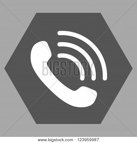 Phone Call vector pictogram. Image style is bicolor flat phone call iconic symbol drawn on a hexagon with dark gray and white colors.