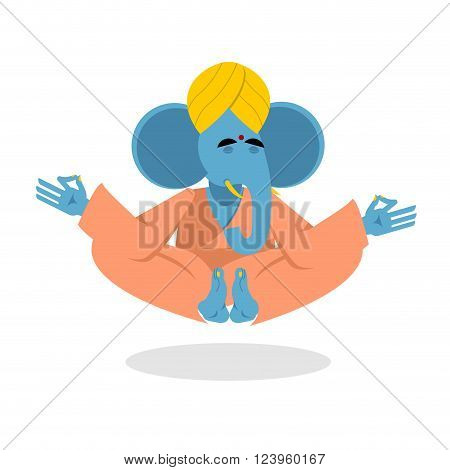Lord Ganesha. Elephant yoga. Blue Elephant is engaged in yoga. Animal attained enlightenment in Indian turban. Elephant on white background. Beast yoga