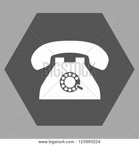 Pulse Phone vector icon symbol. Image style is bicolor flat pulse phone icon symbol drawn on a hexagon with dark gray and white colors.