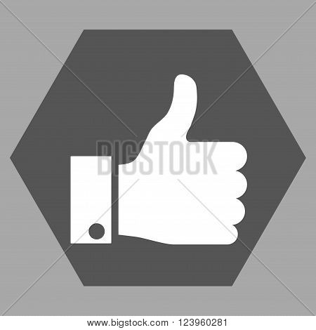 Thumb Up vector icon symbol. Image style is bicolor flat thumb up icon symbol drawn on a hexagon with dark gray and white colors.
