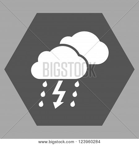 Thunderstorm vector icon. Image style is bicolor flat thunderstorm icon symbol drawn on a hexagon with dark gray and white colors.