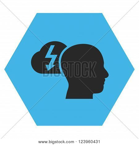 Brainstorming vector pictogram. Image style is bicolor flat brainstorming pictogram symbol drawn on a hexagon with blue and gray colors.