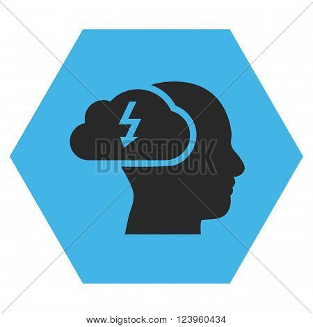 Brainstorming vector symbol. Image style is bicolor flat brainstorming icon symbol drawn on a hexagon with blue and gray colors.