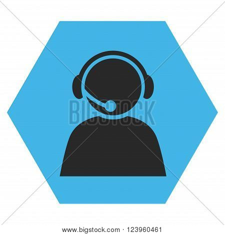 Call Center Operator vector symbol. Image style is bicolor flat call center operator iconic symbol drawn on a hexagon with blue and gray colors.