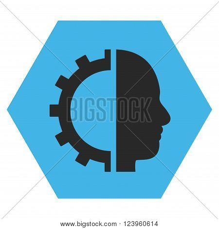 Cyborg Gear vector icon. Image style is bicolor flat cyborg gear icon symbol drawn on a hexagon with blue and gray colors.