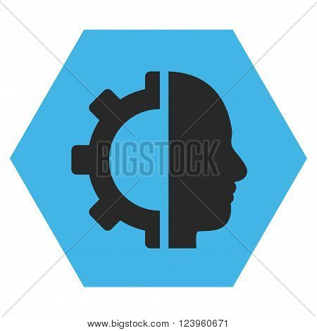 Cyborg Gear vector icon symbol. Image style is bicolor flat cyborg gear icon symbol drawn on a hexagon with blue and gray colors.