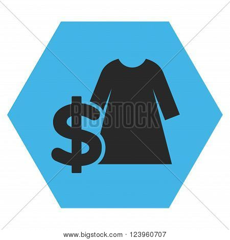Dress Price vector icon symbol. Image style is bicolor flat dress price iconic symbol drawn on a hexagon with blue and gray colors.