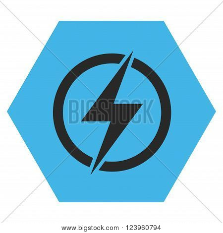 Electricity vector pictogram. Image style is bicolor flat electricity iconic symbol drawn on a hexagon with blue and gray colors.