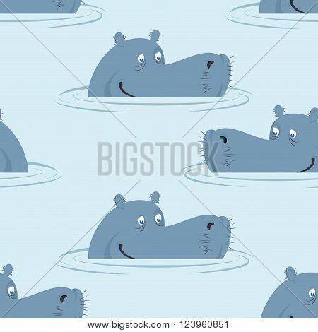 Hippo In Water Seamless Pattern. Good Hippopotamus  In Swamp Texture. Ornament For Baby Cloth. Afric