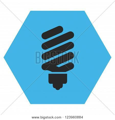 Fluorescent Bulb vector symbol. Image style is bicolor flat fluorescent bulb iconic symbol drawn on a hexagon with blue and gray colors.