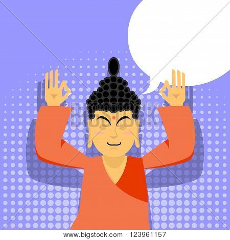 Buddha meditating in pop art style. Indian god on purple background. Status of nirvana and enlightenment