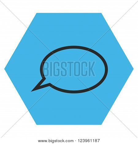 Hint Cloud vector pictogram. Image style is bicolor flat hint cloud iconic symbol drawn on a hexagon with blue and gray colors.