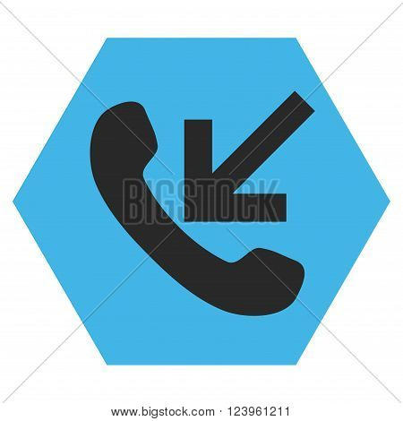 Incoming Call vector icon symbol. Image style is bicolor flat incoming call pictogram symbol drawn on a hexagon with blue and gray colors.