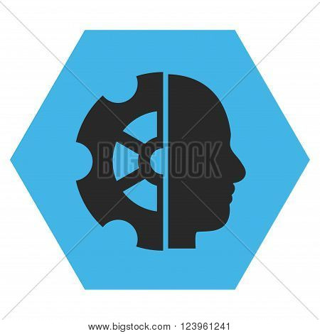 Intellect vector symbol. Image style is bicolor flat intellect pictogram symbol drawn on a hexagon with blue and gray colors.