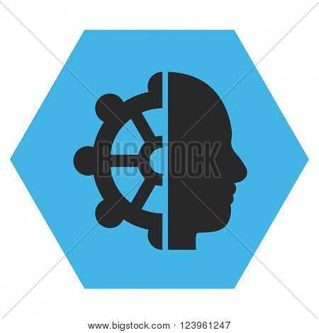 Intellect vector icon symbol. Image style is bicolor flat intellect iconic symbol drawn on a hexagon with blue and gray colors.