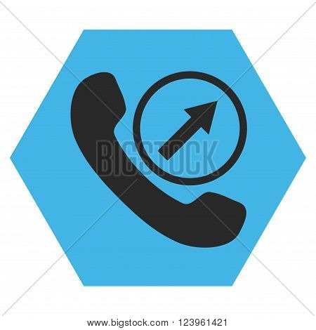 Outgoing Call vector symbol. Image style is bicolor flat outgoing call icon symbol drawn on a hexagon with blue and gray colors.
