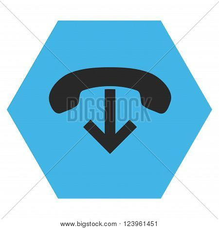 Phone Hang Up vector icon. Image style is bicolor flat phone hang up icon symbol drawn on a hexagon with blue and gray colors.