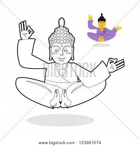 Buddha coloring book. Indian god meditating on white background. Status of nirvana and enlightenment. People sitting in lotus pose